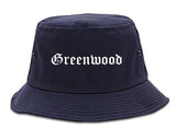 Greenwood Indiana IN Old English Mens Bucket Hat Navy Blue