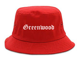 Greenwood Indiana IN Old English Mens Bucket Hat Red