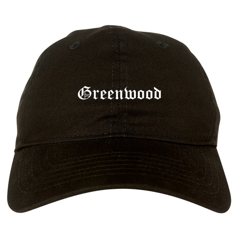 Greenwood Indiana IN Old English Mens Dad Hat Baseball Cap Black