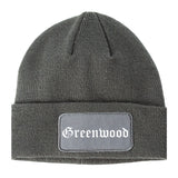Greenwood Indiana IN Old English Mens Knit Beanie Hat Cap Grey