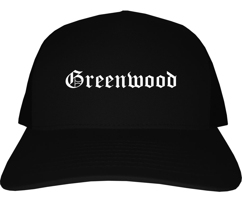 Greenwood Indiana IN Old English Mens Trucker Hat Cap Black
