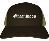 Greenwood Indiana IN Old English Mens Trucker Hat Cap Brown