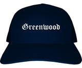 Greenwood Indiana IN Old English Mens Trucker Hat Cap Navy Blue