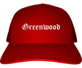 Greenwood Indiana IN Old English Mens Trucker Hat Cap Red