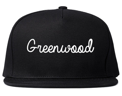 Greenwood Indiana IN Script Mens Snapback Hat Black