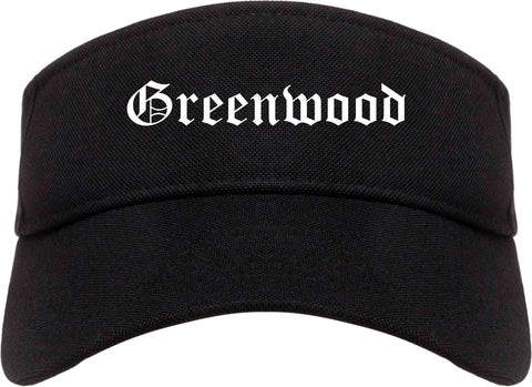 Greenwood Indiana IN Old English Mens Visor Cap Hat Black