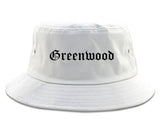 Greenwood Indiana IN Old English Mens Bucket Hat White