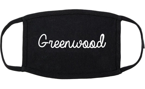 Greenwood Mississippi MS Script Cotton Face Mask Black