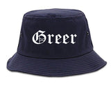 Greer South Carolina SC Old English Mens Bucket Hat Navy Blue
