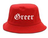 Greer South Carolina SC Old English Mens Bucket Hat Red