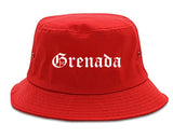 Grenada Mississippi MS Old English Mens Bucket Hat Red