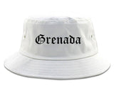 Grenada Mississippi MS Old English Mens Bucket Hat White