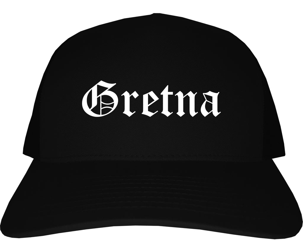 Gretna Louisiana LA Old English Mens Trucker Hat Cap Black