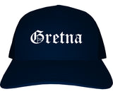 Gretna Louisiana LA Old English Mens Trucker Hat Cap Navy Blue