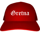 Gretna Louisiana LA Old English Mens Trucker Hat Cap Red