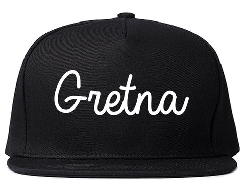 Gretna Louisiana LA Script Mens Snapback Hat Black
