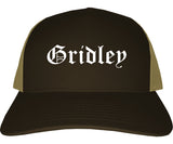Gridley California CA Old English Mens Trucker Hat Cap Brown