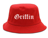 Griffin Georgia GA Old English Mens Bucket Hat Red