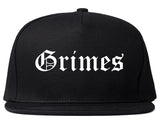 Grimes Iowa IA Old English Mens Snapback Hat Black