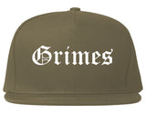 Grimes Iowa IA Old English Mens Snapback Hat Grey