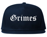 Grimes Iowa IA Old English Mens Snapback Hat Navy Blue