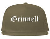 Grinnell Iowa IA Old English Mens Snapback Hat Grey