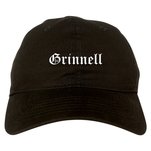 Grinnell Iowa IA Old English Mens Dad Hat Baseball Cap Black