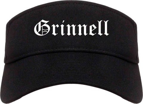 Grinnell Iowa IA Old English Mens Visor Cap Hat Black
