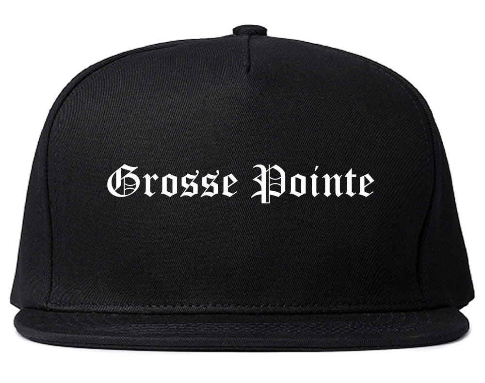 Grosse Pointe Michigan MI Old English Mens Snapback Hat Black