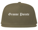 Grosse Pointe Michigan MI Old English Mens Snapback Hat Grey