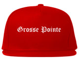 Grosse Pointe Michigan MI Old English Mens Snapback Hat Red