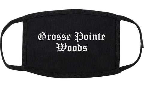 Grosse Pointe Woods Michigan MI Old English Cotton Face Mask Black