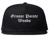 Grosse Pointe Woods Michigan MI Old English Mens Snapback Hat Black