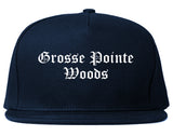 Grosse Pointe Woods Michigan MI Old English Mens Snapback Hat Navy Blue