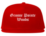 Grosse Pointe Woods Michigan MI Old English Mens Snapback Hat Red