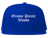 Grosse Pointe Woods Michigan MI Old English Mens Snapback Hat Royal Blue