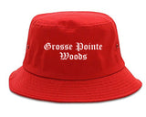 Grosse Pointe Woods Michigan MI Old English Mens Bucket Hat Red