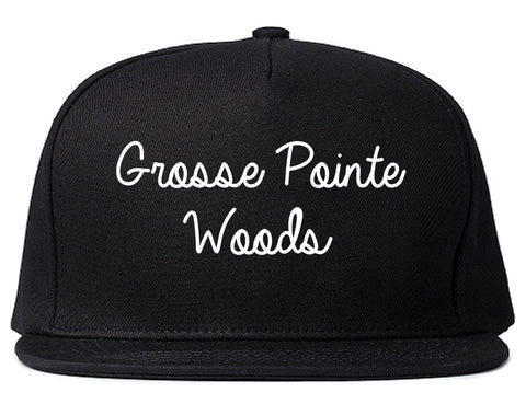 Grosse Pointe Woods Michigan MI Script Mens Snapback Hat Black