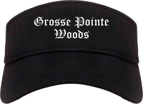 Grosse Pointe Woods Michigan MI Old English Mens Visor Cap Hat Black