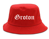 Groton Connecticut CT Old English Mens Bucket Hat Red