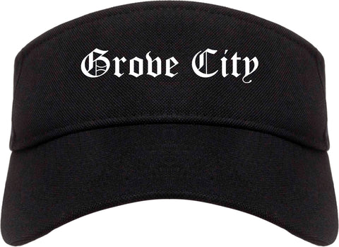 Grove City Pennsylvania PA Old English Mens Visor Cap Hat Black