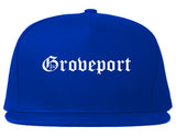 Groveport Ohio OH Old English Mens Snapback Hat Royal Blue