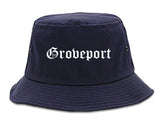 Groveport Ohio OH Old English Mens Bucket Hat Navy Blue