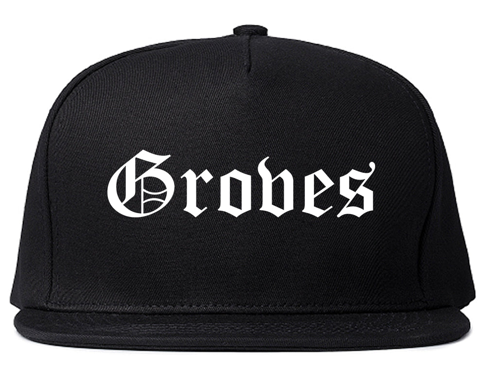 Groves Texas TX Old English Mens Snapback Hat Black