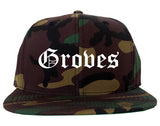 Groves Texas TX Old English Mens Snapback Hat Army Camo