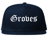 Groves Texas TX Old English Mens Snapback Hat Navy Blue