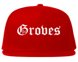 Groves Texas TX Old English Mens Snapback Hat Red