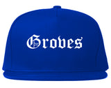 Groves Texas TX Old English Mens Snapback Hat Royal Blue