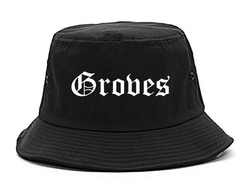 Groves Texas TX Old English Mens Bucket Hat Black