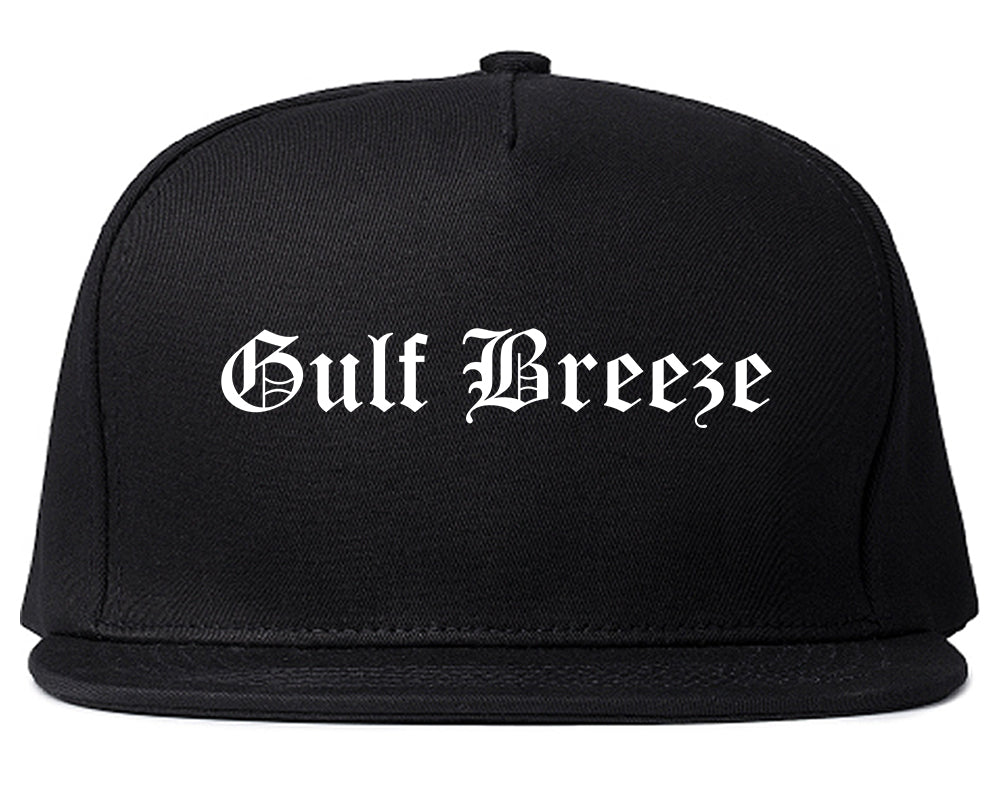 Gulf Breeze Florida FL Old English Mens Snapback Hat Black